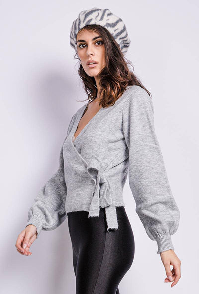 Leia Tie Front Grey Wrap Cardigan - Suburbia Clothing