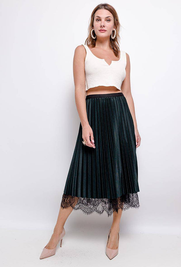 Ruby Reversible Dark Green Lace Pleated Midi Skirt - Suburbia Clothing