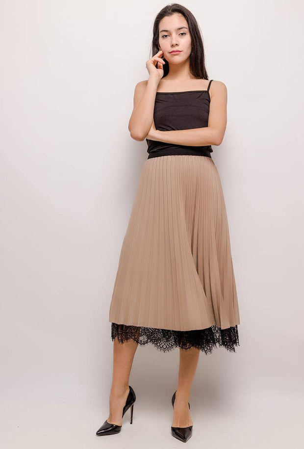 Reversible Beige Lace Pleated Midi Skirt - Suburbia Clothing