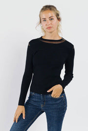 Sophia Sheer Detail Black Jumper | Suburbia Clothing