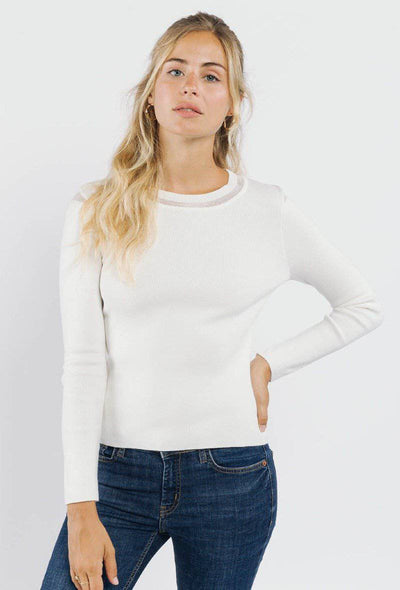 Sophia Sheer Detail White Jumper | Suburbia Clothing