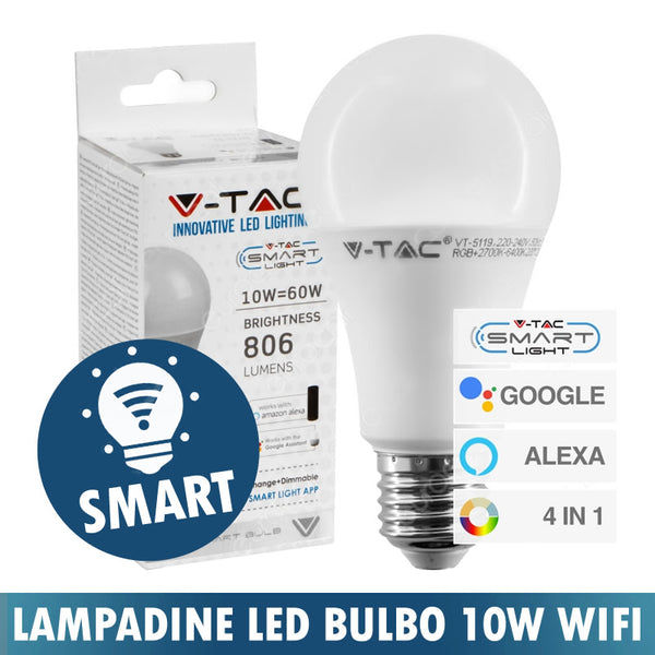 LAMPADINA LED BULBO 10W E27 SMART Wi-Fi RGB+W 4in1