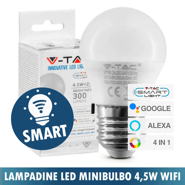 LAMPADINA SMART LED WI-FI E14 4,5W MINIGLOBO IP45 RGB+W 4IN1 DIMMERABILE
