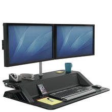 Load image into Gallery viewer, BUY FELLOWES LOTUS Sit Stand Workstation with FREE SHIPPING 7901 black dual monitor arm