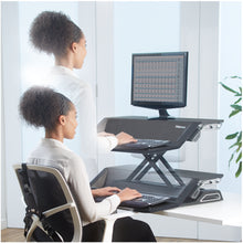 Load image into Gallery viewer, BUY FELLOWES LOTUS Sit Stand Workstation with FREE SHIPPING 7901 black in use