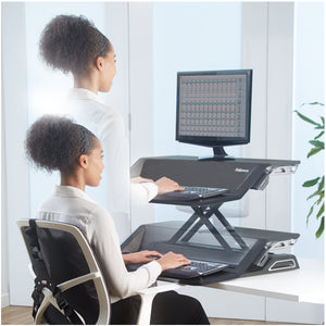 BUY FELLOWES LOTUS Sit Stand Workstation with FREE SHIPPING 7901 black in use