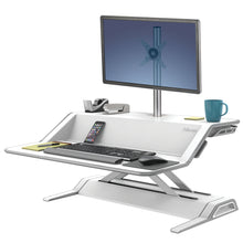 Load image into Gallery viewer, BUY FELLOWES LOTUS Sit Stand Workstation with FREE SHIPPING 9901 white single monitor arm