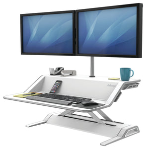 BUY FELLOWES LOTUS Sit Stand Workstation with FREE SHIPPING 9901 white double monitor arm