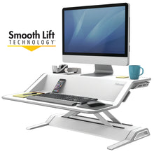 Load image into Gallery viewer, BUY FELLOWES LOTUS Sit Stand Workstation with FREE SHIPPING 9901 white smooth lift technology