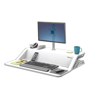 BUY FELLOWES LOTUS Sit Stand Workstation with FREE SHIPPING 9901 white single monitor arm