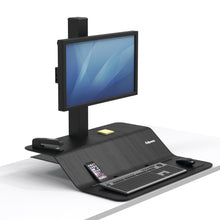 Load image into Gallery viewer, BUY FELLOWES LOTUS VE Sit Stand Workstation Single Monitor FREE SHIPPING. Hight adjustable Desk converter 8080101 black