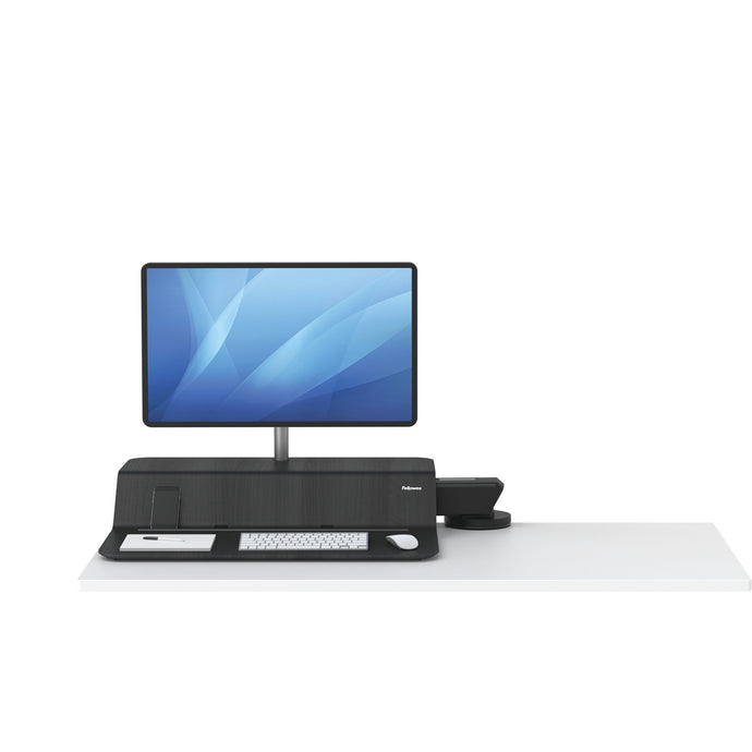 BUY FELLOWES® LOTUS™ RT SIT STAND WORKSTATION with FREE SHIPPING. Available in black with a single monitor arm. Hight adjustable Desk converter 8081501