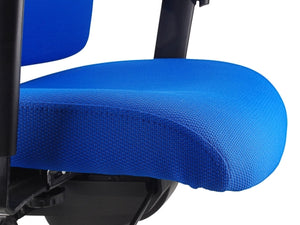 Buy quality Ergoform Ergonomic Office Desk Chair now with FREE SHIPPING blue with black base and armrests close up