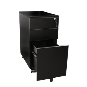 GO Steel Slimline Mobile Pedestal - 3 Drawers