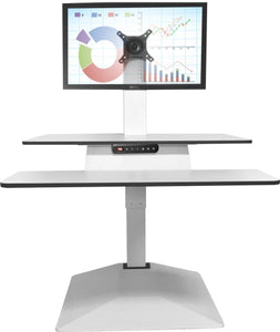 Buy Standesk Memory Desk Converter black or white with a single monitor backet, double monitor backet or triple monitor backet. Standing desk, sit stand desk, height adjustable desk, desktop riser. Office desk or for your home office. Desks for Backs. Standesk from Office Portfolio. Shop online home & office ergonomic furniture and supplies. Standing desks, stand up desk, office workstation, office furniture, sit & stand desks.