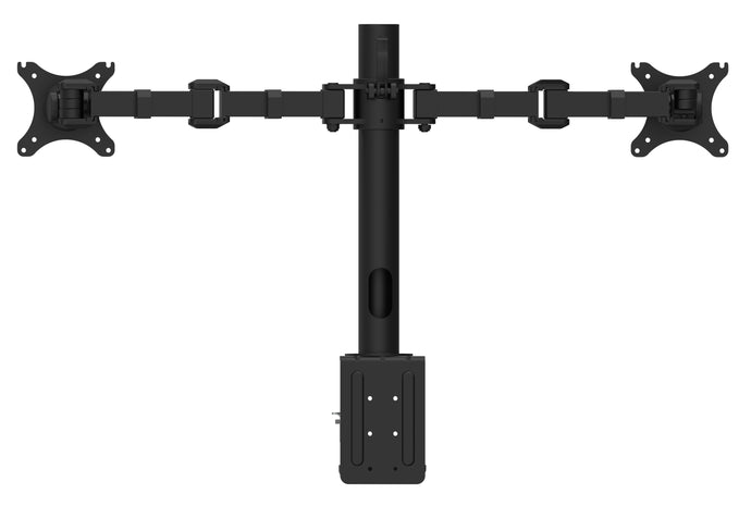 Buy Rapidline Revolve Dual Monitor Arm FREE SHIPPING RMA2 BL Perfect to use with our range of Standing Desks and Desk Converters! Liberate your worktop space and improve posture with a Revolve pole mounted dual monitor arm. With 360 degrees horizontal adjustment and cable management within the pole, available in black