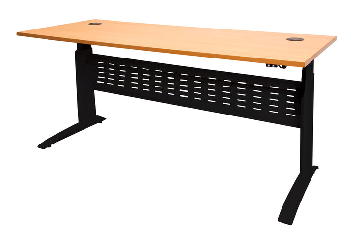 Buy Rapidline Rapid Span Electric Open Desk Workstation FREE SHIPPING SE-127, SE-157, SE-187, standing desk, standup desk, 1200mm W x 700mm D, 1500mm W x 700mm D, 1800mm W x 700mm D with a Black base and beech tabletop