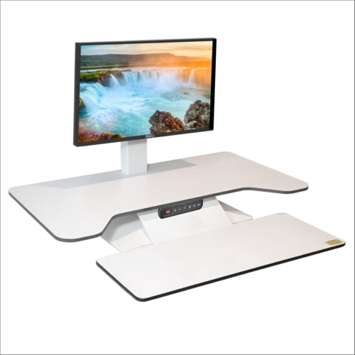Buy Standesk Pro Memory Desk Converter workstation/desktop risers with FREE SHIPPING white single monitor bracket