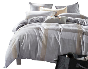 Plaid Light Blue and Grey Duvet Set
