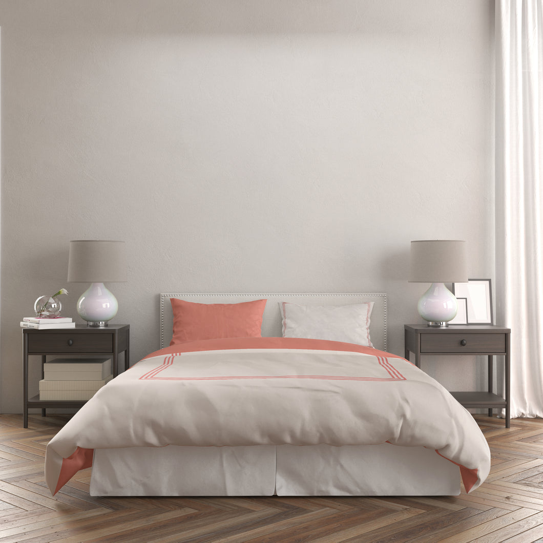 Embroidered Hotel Collection Duvet Set - Twin Coral