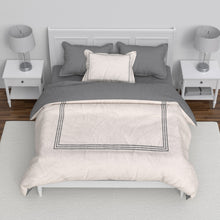 Load image into Gallery viewer, Embroidered Hotel Collection Duvet Set - Grey