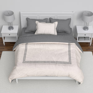 Embroidered Hotel Collection Duvet Set - Grey