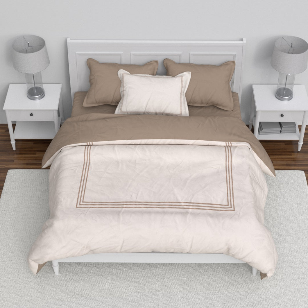Embroidered Hotel Collection Duvet Set - Taupe