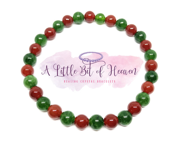 Red Carnelian & Green Chalcopyrite Reiki Infused Crystal Stretch Bracelet - 6mm beads