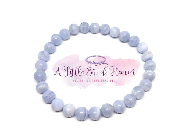 Blue Lace Agate Crystal Stretch Bracelet - 6mm beads
