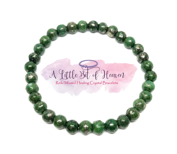 Green Chalcopyrite Reiki Infused Crystal Stretch Bracelet - 6mm beads