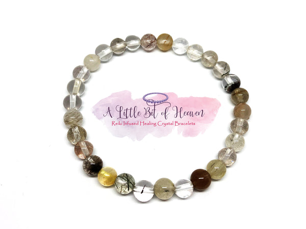 Multicoloured Rutilated Quartz Reiki Infused Crystal Stretch Bracelet - 6mm beads
