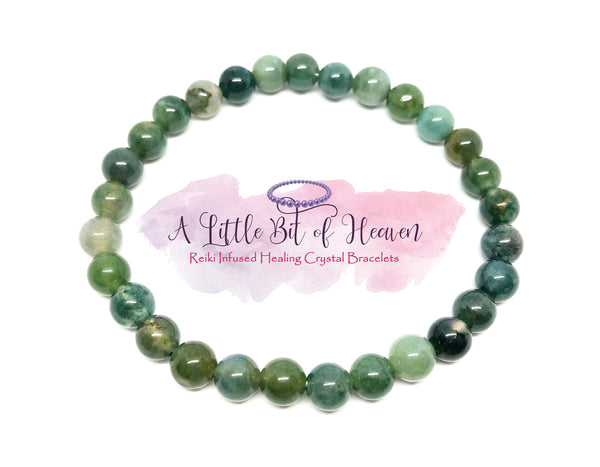 Green Moss Agate Reiki Infused Crystal Stretch Bracelet - 6mm beads