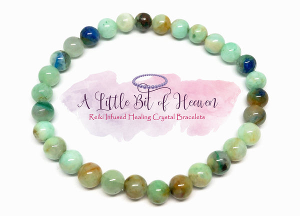 Chrysocolla Reiki Infused Crystal Stretch Bracelet - 6mm beads