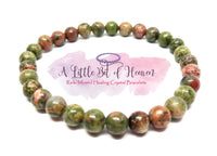 Unakite Reiki Infused Crystal Stretch Bracelet - 6mm beads