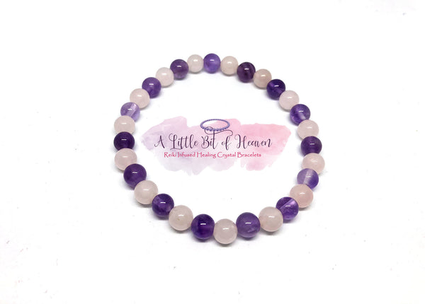 Abundance of Love (Rose Quartz & Amethyst) - Reiki Infused Crystal 6mm stretch bracelet