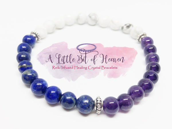 Anxiety & Stress Relief (Amethyst, Lapis, Howlite) Crystal Stretch Bracelet