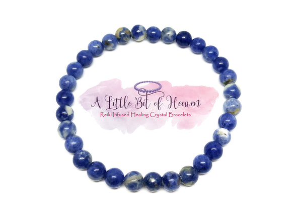 Sodalite Reiki Infused Crystal Stretch Bracelet - 6mm beads
