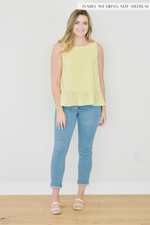 The Kayla Peplum Blouse-Yellow