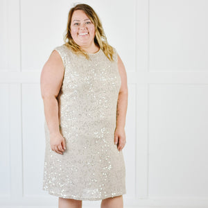 Sequin Shift Dress -Champagne |L-2XL|