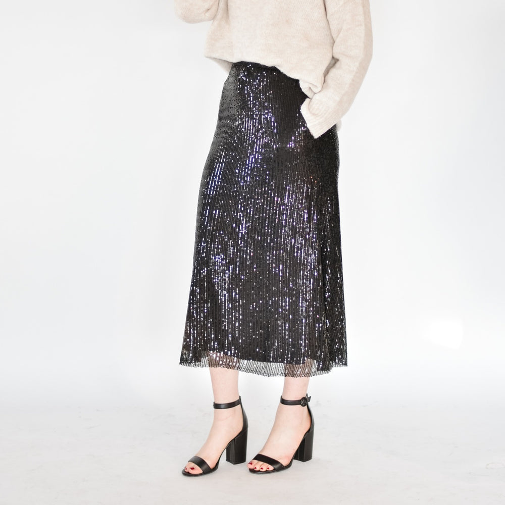 Sequin Midi Skirt-Black