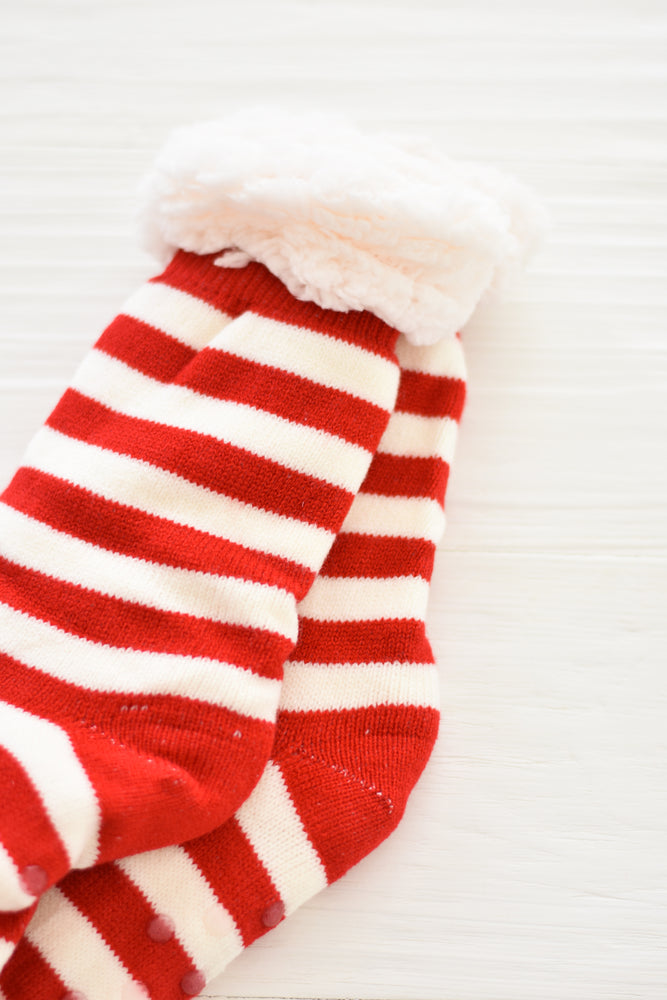 Candy Cane Slipper Sock