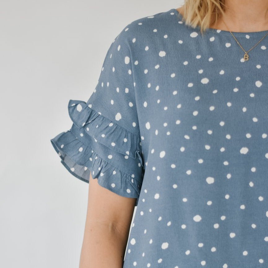 Seeing Spots Ruffle Blouse (Blue)