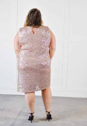 Sequin Shift Dress -Rose |XL-2XL|