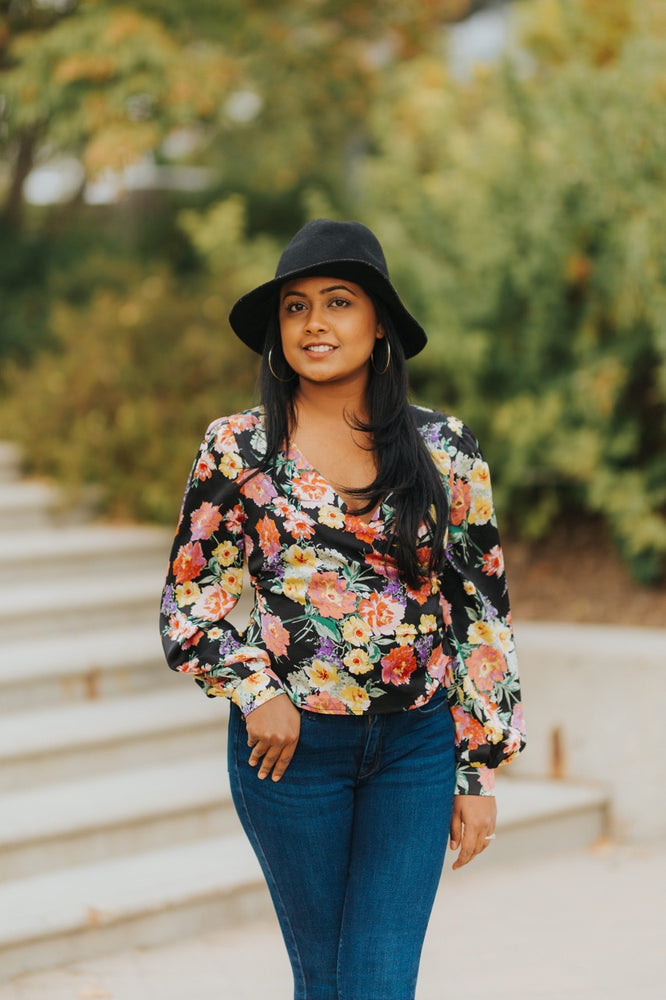 Retro Floral Wrap Blouse
