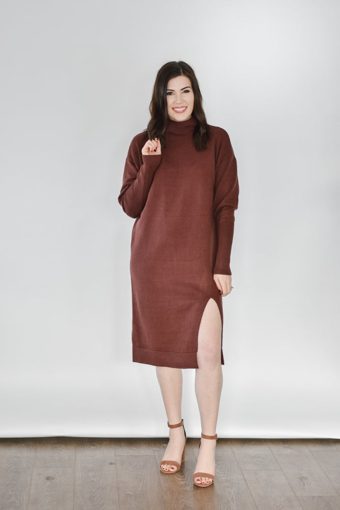 Tanya Sweater Dress-Brownie