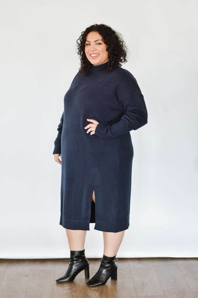 Tanya Sweater Dress-Navy