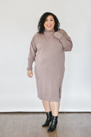 Tanya Sweater Dress-Taupe