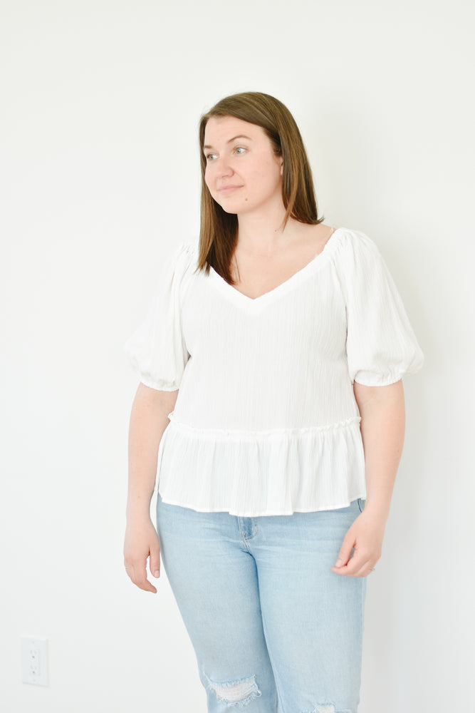 Cloud Dancer Textured Blouse