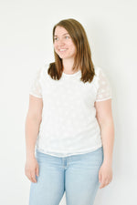 White Textured Dot Blouse |S-3XL|