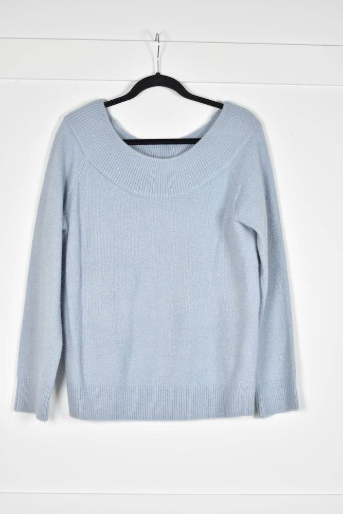 Blue Boat Neck Sweater